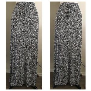 Cynthia Rowley Black & White Print Maxi Skirt  1x